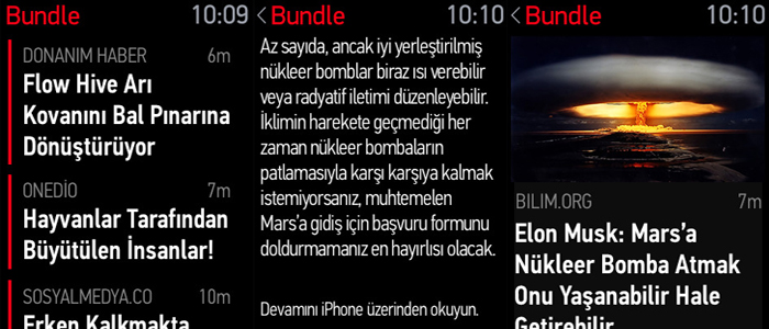 bundla apple watch uygulaması