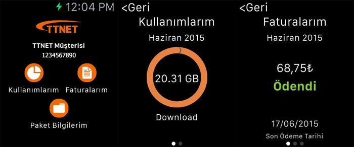 online işlemler apple watch uygulaması