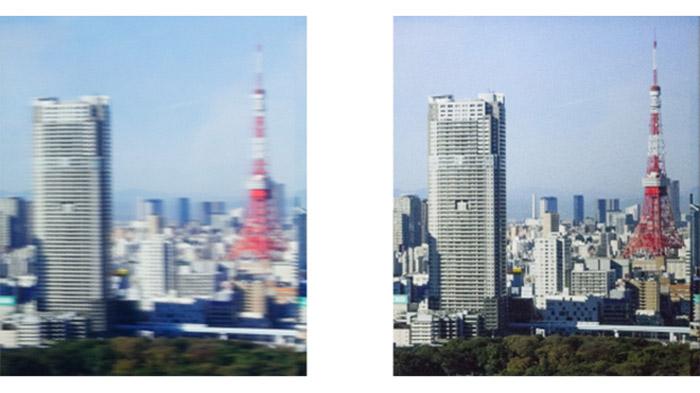 Sol standart sanal gerçeklik ekranı, sağ Japan Display'in yeni ekranı.